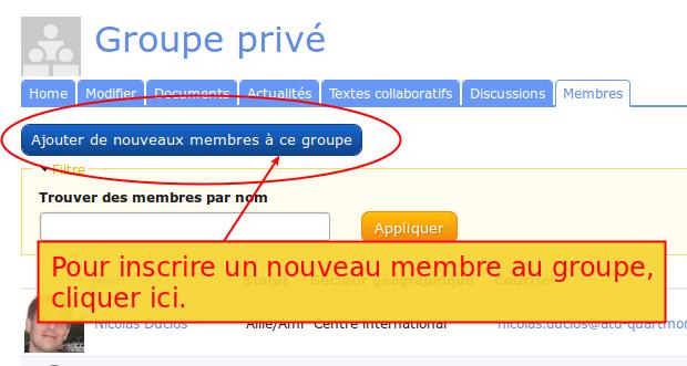 Mise en évidence du bouton pour ajouter des membres au groupe