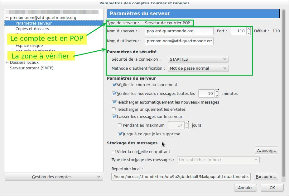 Capture écran paramètres serveur POP