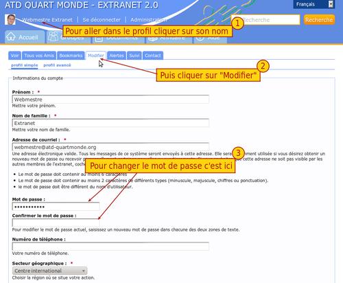 Capture d'écran pour le changement de mot de passe