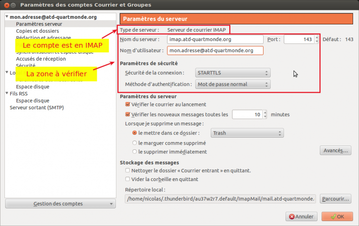 Capture écran paramètres serveur IMAP