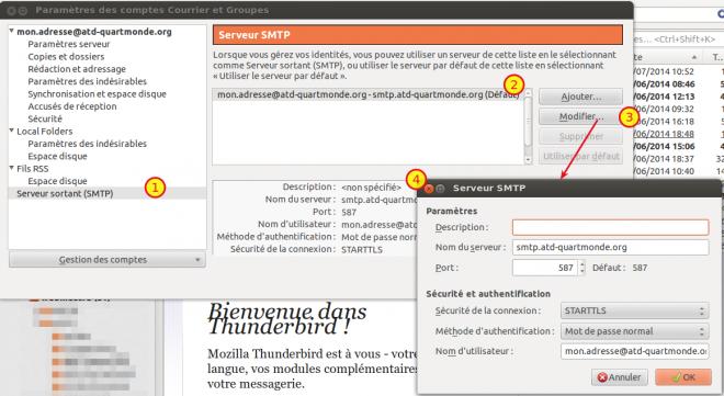 Capture écran paramètres serveur SMTP